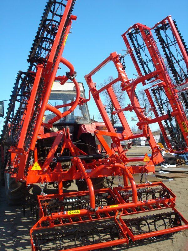 Agregat uprawowy, szerokość robocza 6.5 metra, rama bron 6 polowa, pojedyncza z wałkami kruszącymi